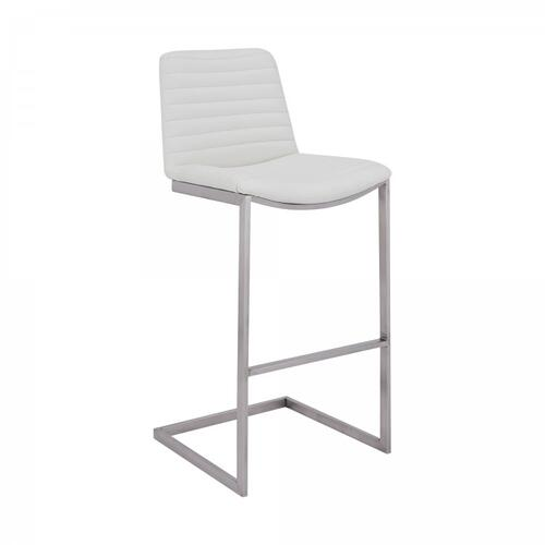 "Lucas Contemporary 30"" Bar Height Barstool in Brushed Stainless Steel Finish and White Faux Leather"
