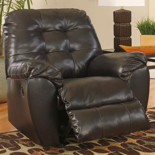 Signature Design by Ashley Alliston Rocker Recliner in Chocolate Faux Leather [FSD-2399REC-CHO-GG]
