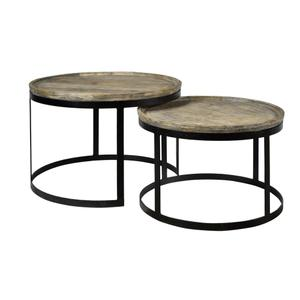 CRESTVIEW COLLECTIONSBengal Manor Mango Wood and Metal Round Cocktail Tables