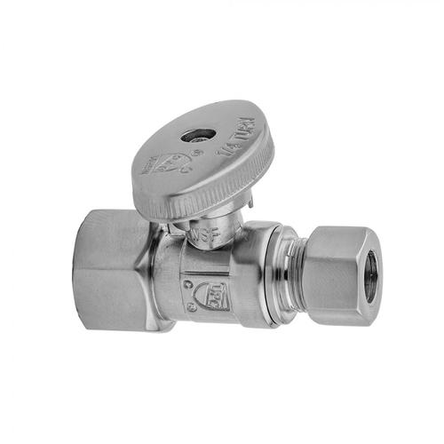 """Satin Brass - Quarter Turn Straight Pattern 1/2"""" IPS x 1/2"""" O.D. Supply Valve with Oval Handle"""