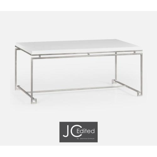 Silver iron rectangular coffee table with Biancaneve top