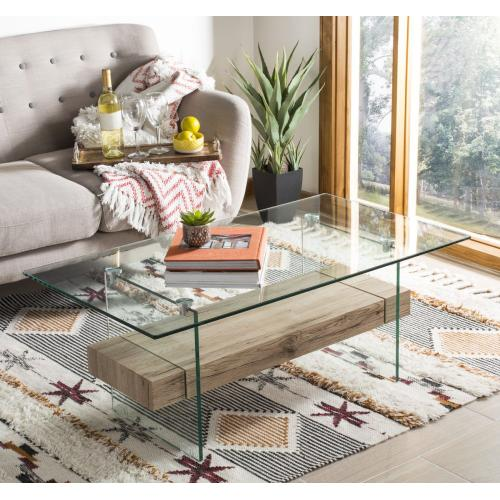 Safavieh - Kayley Rectangular Modern Glass Coffee Table - Natural / Glass