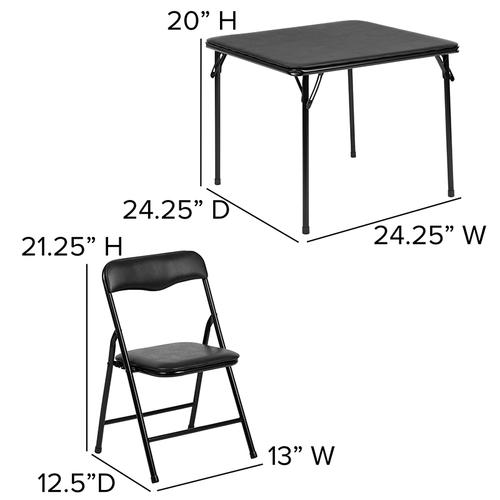 Flash Furniture - Kids Black 3 Piece Folding Table and Chair Set