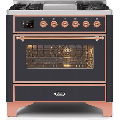 Gallery - Majestic II 36 Inch Dual Fuel Natural Gas Freestanding Range in Matte Graphite with Copper Trim