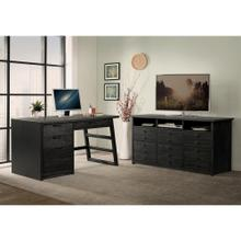 See Details - Perspectives - Single Pedestal Desk - Ebonized Acacia Finish