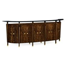 Mahogany semi circular five panel registration desk with fine inlays