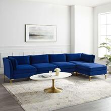Ardent 5-Piece Performance Velvet Sectional Sofa in Navy