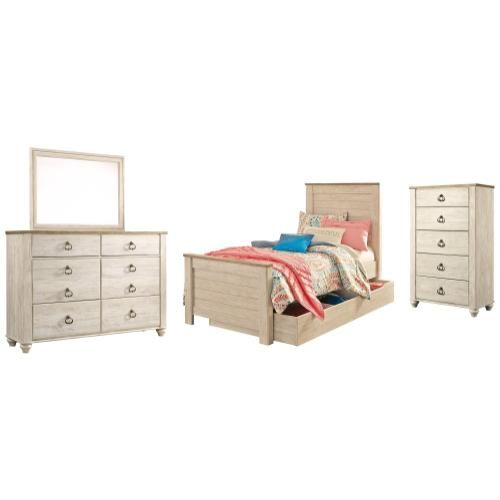 Ashley - Twin Panel Bed With 1 Storage Drawer With Mirrored Dresser and Chest