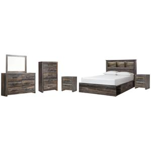 Queen Bookcase Bed With 4 Storage Drawers With Mirrored Dresser, Chest and 2 Nightstands