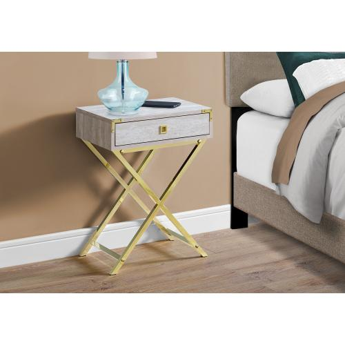 """Gallery - NIGHT STAND - 24""""H / BEIGE MARBLE / GOLD METAL"""