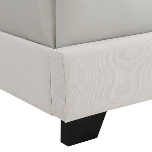 Clipped Corner Upholstered King Bed in Warm Gray