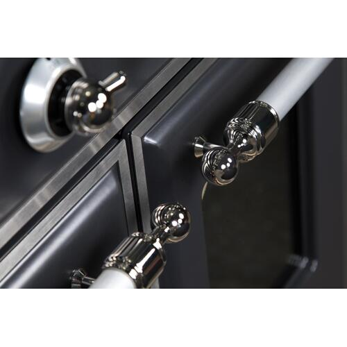Ilve - Majestic II 48 Inch Dual Fuel Natural Gas Freestanding Range in Matte Graphite with Chrome Trim