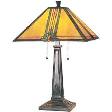 Table Lamp, A/brz W/tiffany Shade, E27 Cfl 13wx2