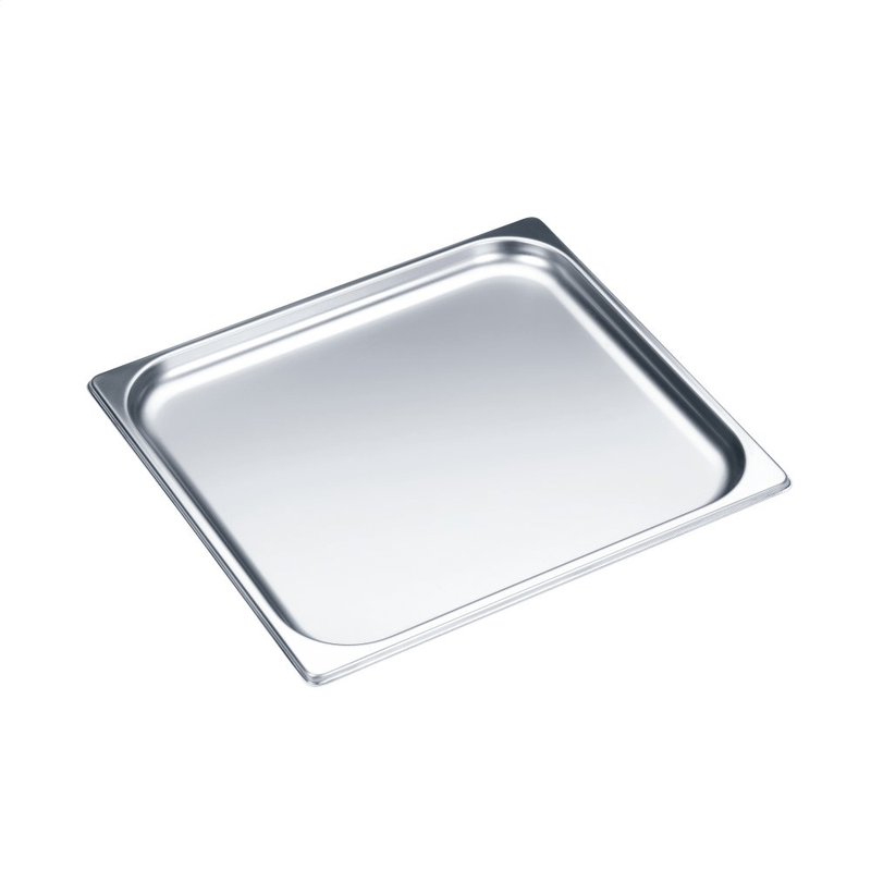 Unperforated steam oven pan for cooking food in gravy, stock, water (e.g. rice, pasta).