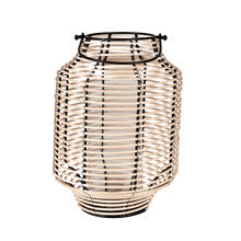 Product Image - Gael Lantern with Glass Insert, Iron/Rattan