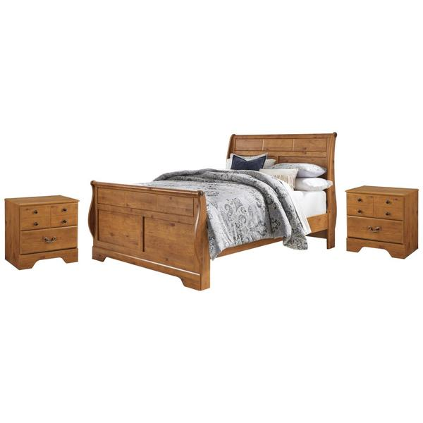 See Details - Queen Sleigh Bed With 2 Nightstands