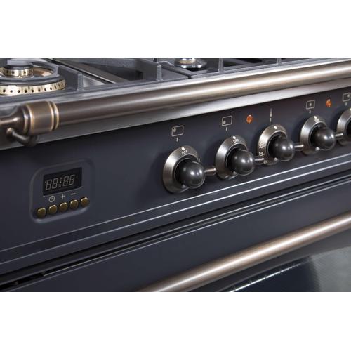 Nostalgie 36 Inch Dual Fuel Liquid Propane Freestanding Range in Matte Graphite with Bronze Trim