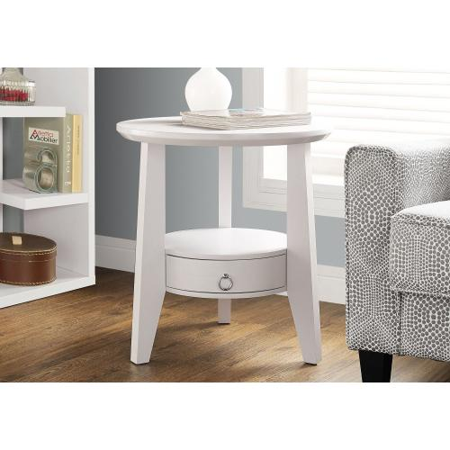 """Gallery - ACCENT TABLE - 23""""DIA / WHITE WITH 1 DRAWER"""