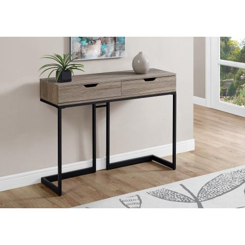 """Gallery - ACCENT TABLE - 42""""L / DARK TAUPE / BLACK HALL CONSOLE"""