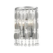 Chamelon 2-Light Sconce in Polished Chrome with Perforated Stainless and Clear Crystal