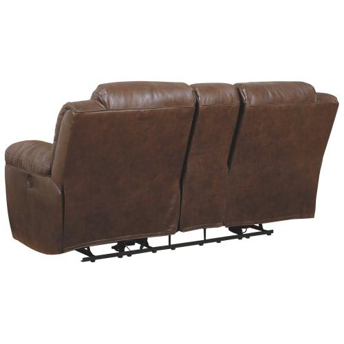 CLEARANCE Stoneland Power Reclining Loveseat With Console - Chocolate