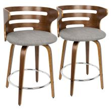 Cosini Counter Stool - Set Of 2 - Walnut Wood, Grey Fabric, Chrome