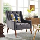 Peruse Velvet Armchair in Gray Product Image
