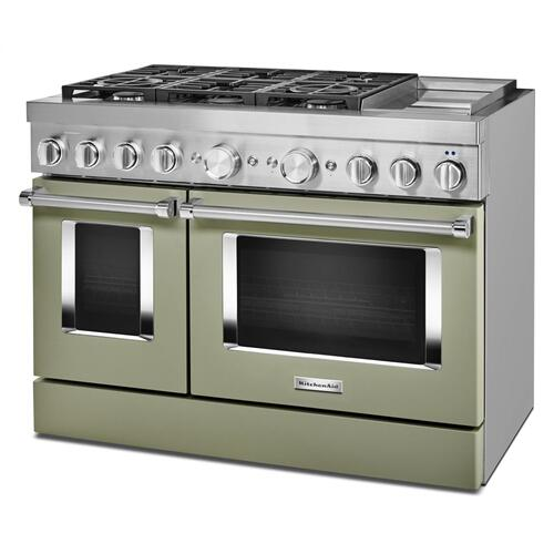 KitchenAid® 48'' Smart Commercial-Style Dual Fuel Range with Griddle - Matte Avocado Cream