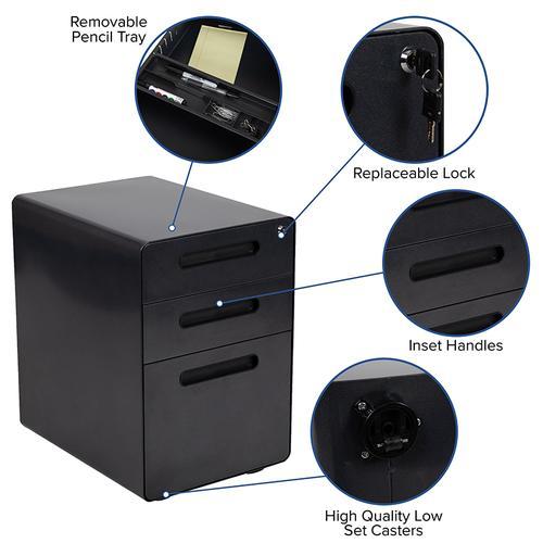 Flash Furniture - Ergonomic 3-Drawer Mobile Locking Filing Cabinet with Anti-Tilt Mechanism and Hanging Drawer for Legal & Letter Files, Black