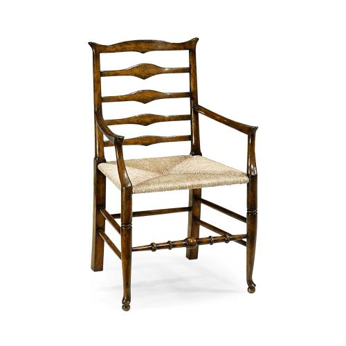 Triangular Detail Ladder Back Dining Arm Chair with Rushed Seat