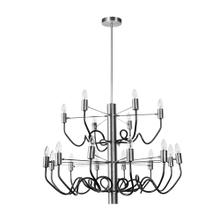 18lt Chandelier, Satin Chrome & Matte Black Finish