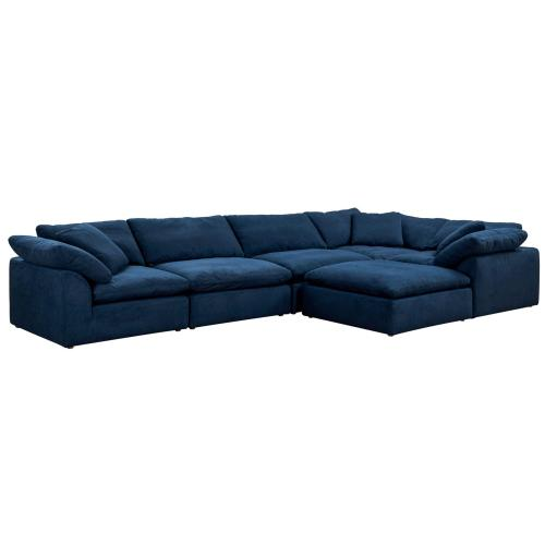Cloud Puff 6 Piece Slipcovered Modular L Shaped Sectional Sofa with Ottoman (6 Piece)
