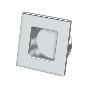 """Flush Pull, Square, HD, 2-3/4""""x 2-3/4"""", Solid Brass - Polished Chrome"""