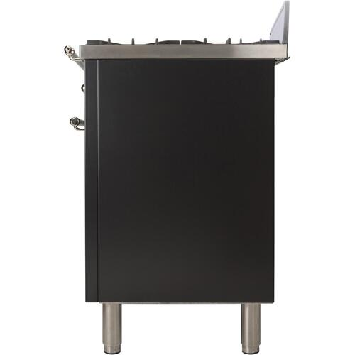 Nostalgie 30 Inch Gas Natural Gas Freestanding Range in Glossy Black with Chrome Trim