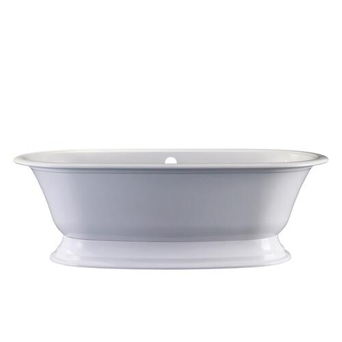Elwick 74-7/8 Inch X 35-7/8 Inch Freestanding Soaking Pedestal Bathtub in Volcanic Limestone™ with Overflow Hole - Gloss White