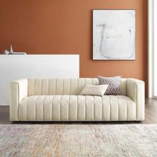 Reflection Channel Tufted Upholstered Fabric Sofa in Beige