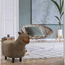 "Critter Sitters Plush Brown Llama Animal Ottoman Furniture for Nursery, Bedroom, Playroom & Living Room Decor, 14"" Seat Height, CSLLAOTT-BRN"