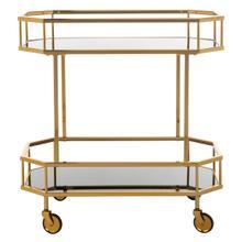 See Details - Silva 2 - Tier Octagon Bar Cart - Brass / Tinted Glass