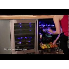 24-In Professional Built-In Beverage Refrigerator with Door Style - Stainless Steel Frame Glass, Door Swing - Left