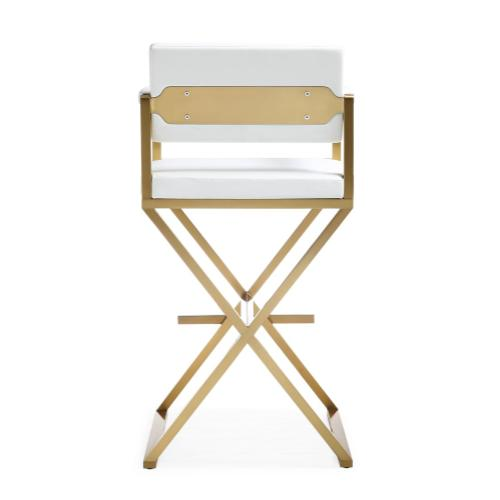 Product Image - Director White Gold Steel Barstool