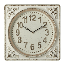Distressed Ivory Embossed Frame Wall Clock