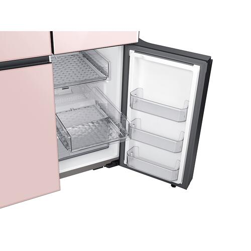 Gallery - 23 cu. ft. Smart Counter Depth BESPOKE 4-Door Flex™ Refrigerator with Customizable Panel Colors in White Glass Top and Rose Pink Glass Bottom