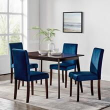 Prosper 5 Piece Upholstered Velvet Dining Set in Cappuccino Navy