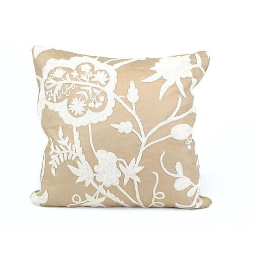White Floral Motif Pillow