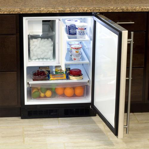 24-In Built-In Refrigerator Freezer With Crescent Ice Maker with Door Style - Stainless Steel, Door Swing - Right
