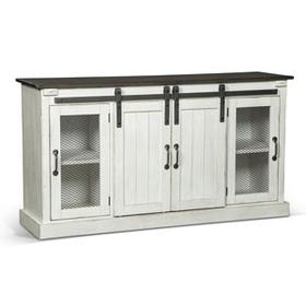 TV Console with Barn Doors White