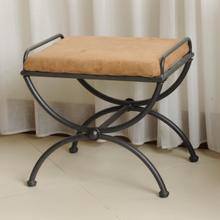 Microsuede Upholstered Iron Iron and Microsuede Vanity Stool - Saddle Brown