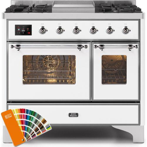 Majestic II 40 Inch Dual Fuel Natural Gas Freestanding Range in Custom RAL Color with Chrome Trim