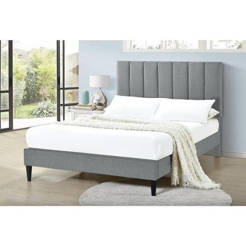 Accentrics Home - Vertically Channeled Full Upholstered Platform Bed in Gray