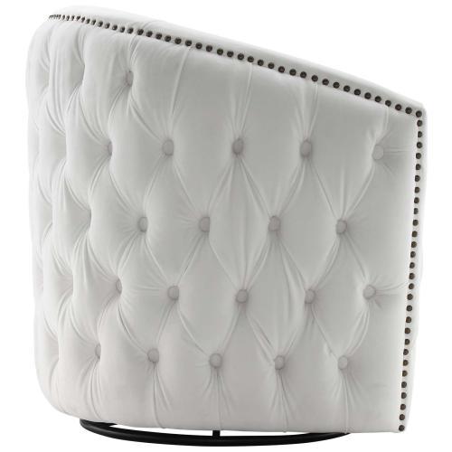 Rogue Swivel Performance Velvet Armchair in White